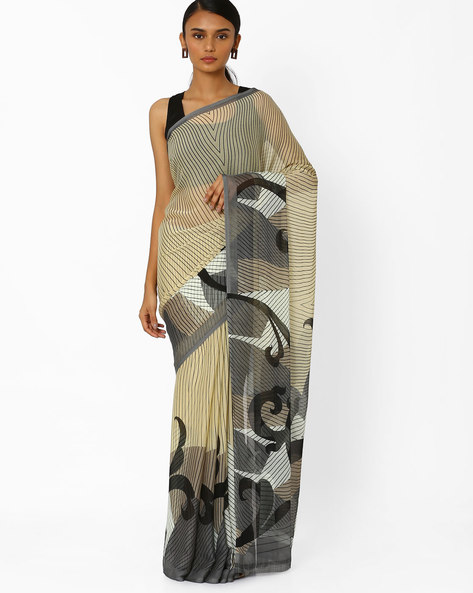 Striped Saree With Contrast Border By Akoya ( Grey )