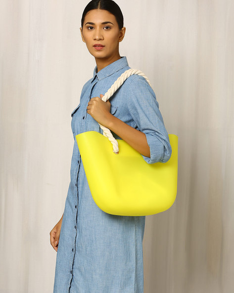 Beach Bag With Rope Handle By Indie Picks ( Yellow )