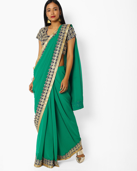 Embroidered Georgette Saree With Blouse By Majestic Silk ( Green )