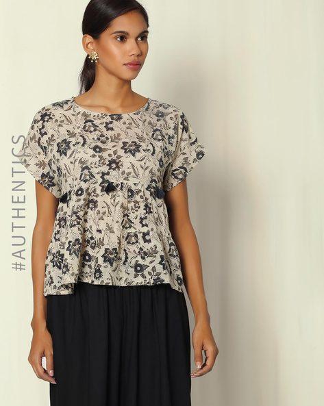 Kalamkari Handblock Print Cotton Dobby Top By Indie Picks ( Black )