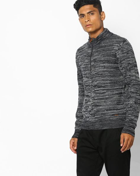 Slim Fit High-Neck Pullover By AJIO ( Navy )