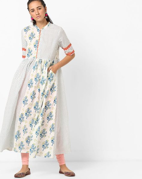 Printed Flared Cotton Kurta By AJIO ( Blue )