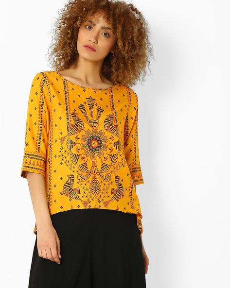 Printed High-Low Top By Global Desi ( Mustard )