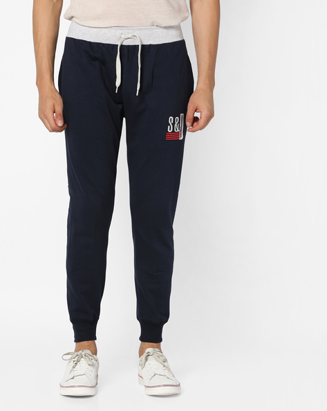Slim Fit Joggers With Contrast Waistband By DUKE ( Navy )