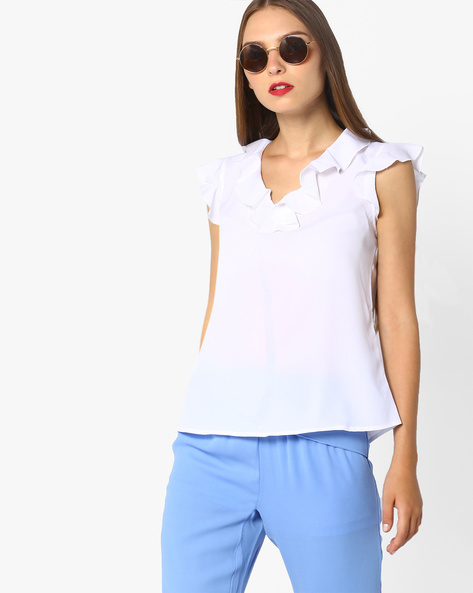 Sleeveless Top With Ruffle Detail By AJIO ( White )