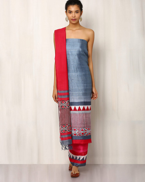 Handwoven Pure Kosa Ghicha Silk Printed Dress Material By Indie Picks ( Grey )