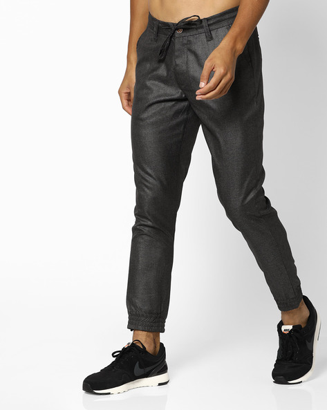 Joggers With Drawstring Waist By AJIO ( Black )