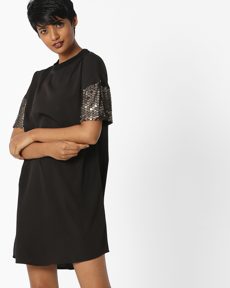 Shift Dress With Sequinned Drop-Shoulder Sleeves By Rena Love ( Black )