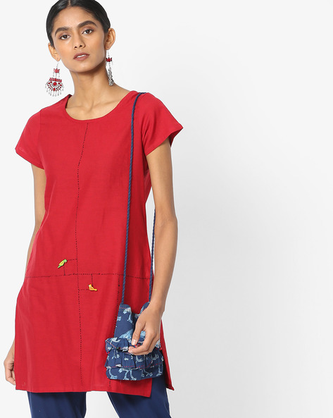 Straight Kurti With Appliqué By SIYAHI ( Red )