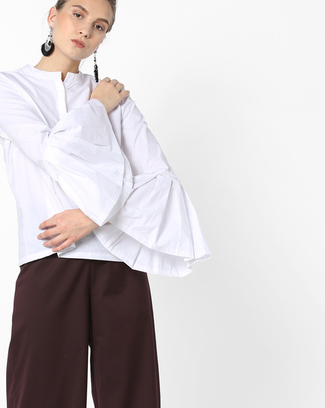 Mandarin Collar Top With Bell Sleeves By AJIO ( White )