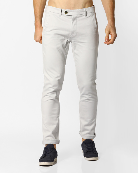 Slim Fit Twill Chinos By AJIO ( Stone )