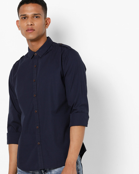 Slim Fit Shirt With Spread Collar By AJIO ( Navy )