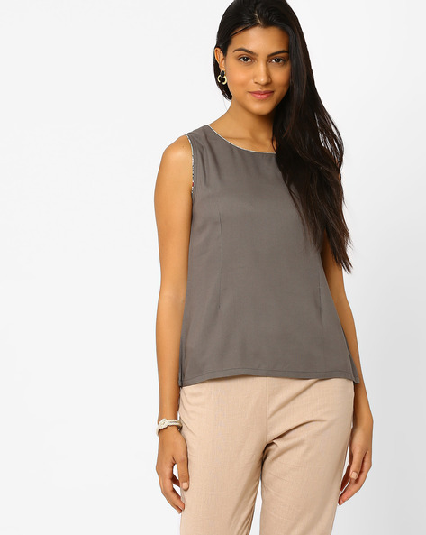 Sleeveless Solid Top By AJIO ( Black )