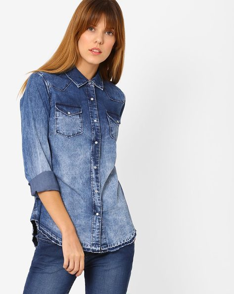 Washed Denim Shirt With Patch Pockets By Pepe Jeans ( Blue )