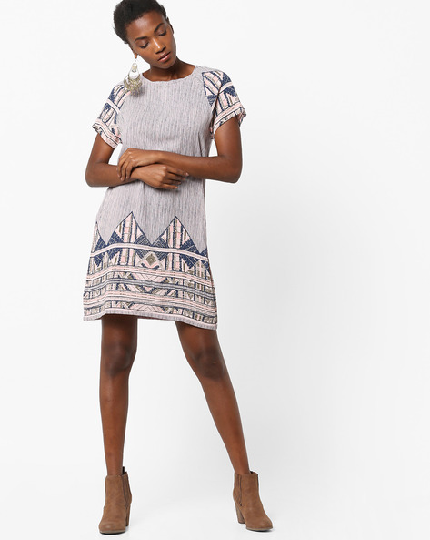Printed Shift Dress With Keyhole Back By Rena Love ( Multi )