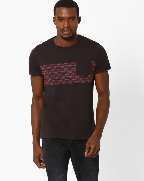 T-shirt With Patch Pocket By AJIO ( Charcoal )