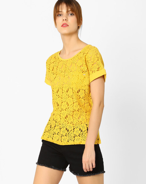 Floral Lace Top With Patch Pocket By Only ( Mustard )