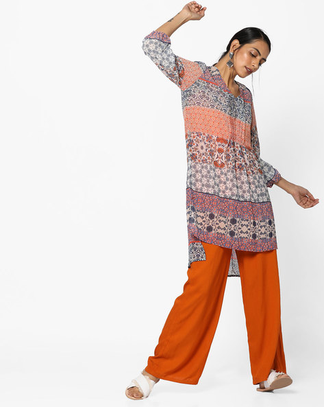 Floral Print High-Low Tunic By FUSION BEATS ( Orange )