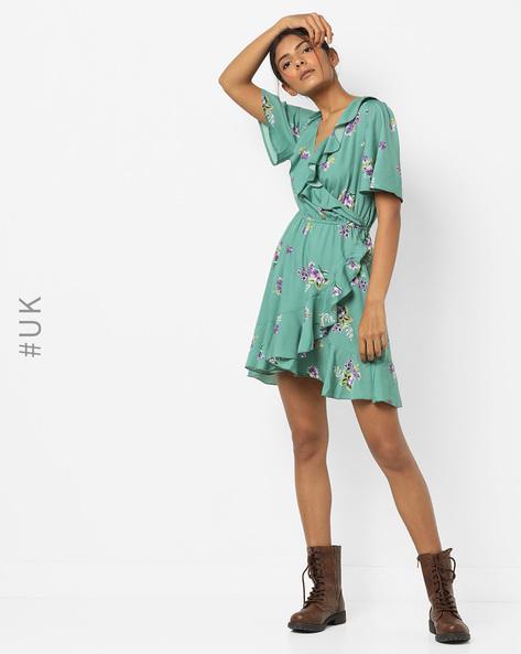 Floral Fit & Flare Dress By INFLUENCE ( Green )