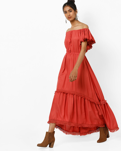 Off-Shoulder Maxi Dress By Tokyo Talkies ( Pink )