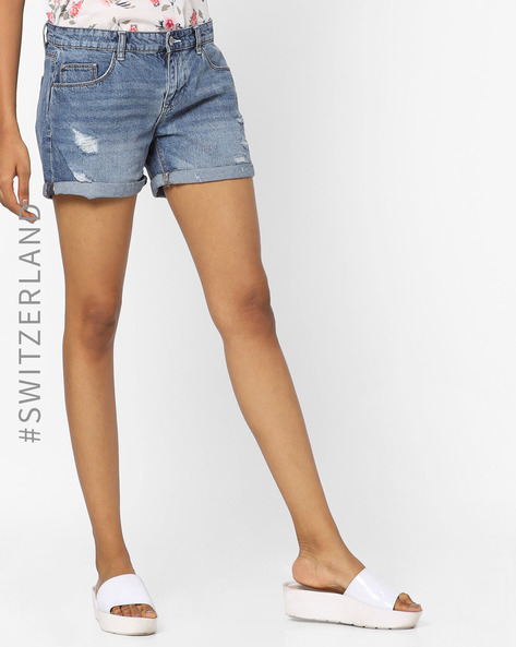 Distressed Denim Shorts With Upturned Hems By TALLY WEiJL ( Blue )