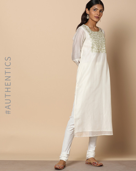 Chanderi Straight Kurta With Embroidery By Project Eve IW Evening ( Offwhite )