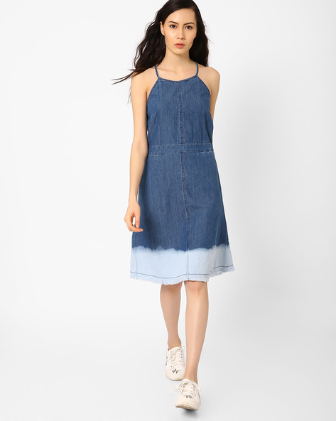 Fit & Flare Denim Dress By AJIO ( Blue )
