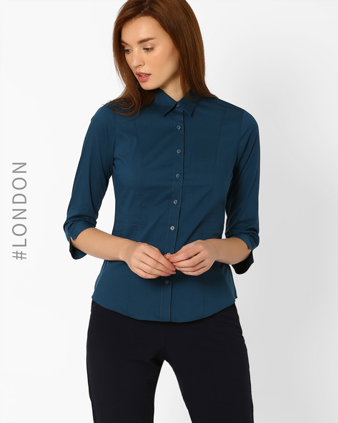 Slim Fit Classic Shirt By Marks & Spencer ( Blue )