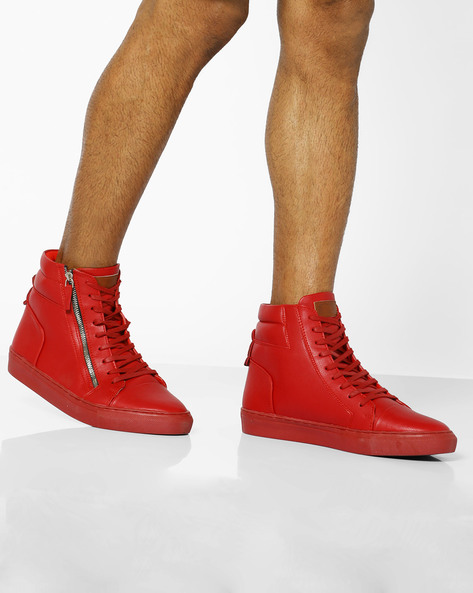 Mid-Top Lace-Up Sneakers By AJIO ( Red )