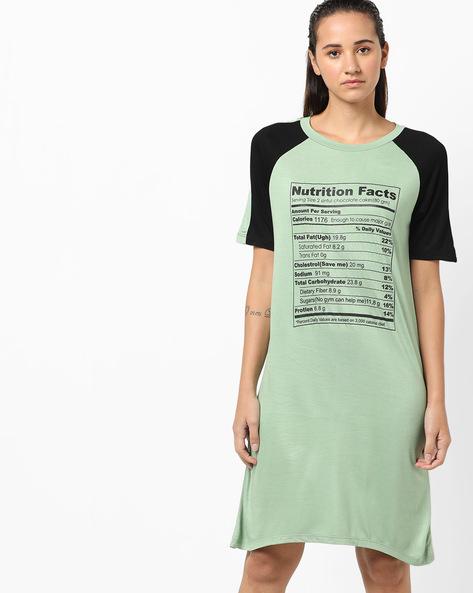 Typographic Print Shift Dress With Raglan Sleeves By AJIO ( Green )