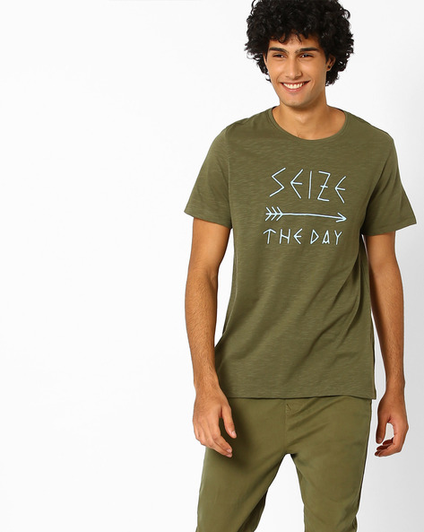 Slim Fit Graphic Print Summer T-shirt By AJIO ( Olive )