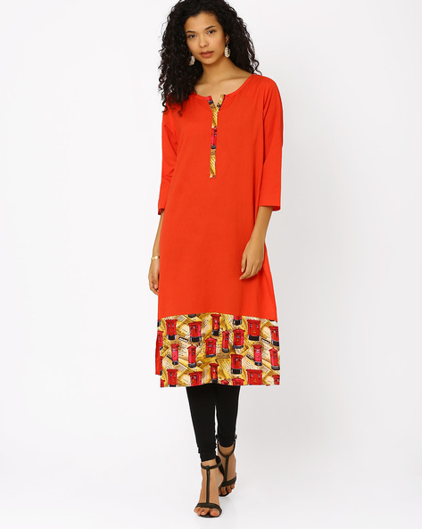 Cotton Kurta With Printed Hemline By Khimsariya ( Orange )