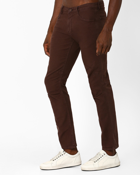 Flat-Front Regular Fit Trousers By AJIO ( Brown )