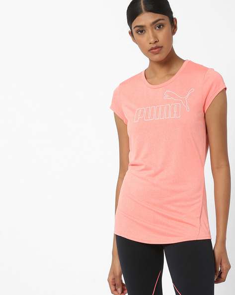 Crew-Neck T-shirt With Cap Sleeves By Puma ( Peach )