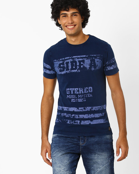Sim Fit Crew-Neck T-shirt By DNM X ( Navy )