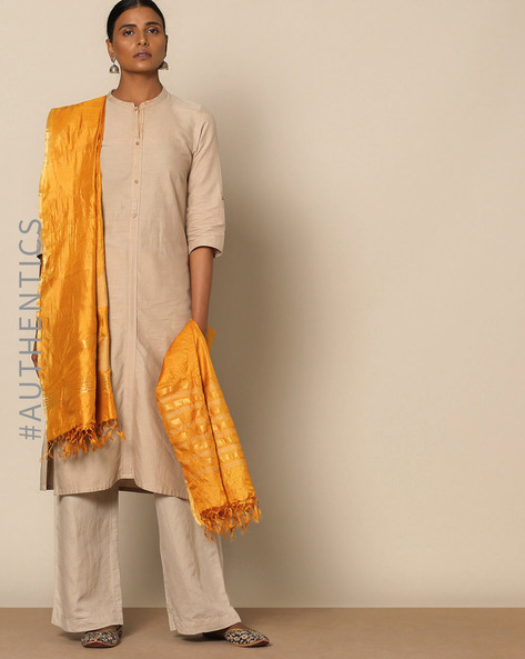 Handloom Pure Tussar Silk Jamdani Dupatta By Indie Picks ( Mustard )
