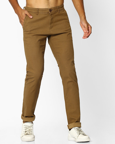Mid-Rise Tapered Fit Twill Chinos By NETPLAY ( Khaki )