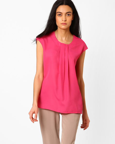 Pleat-Front Top With Extended Sleeves By AJIO ( Fuchsia )