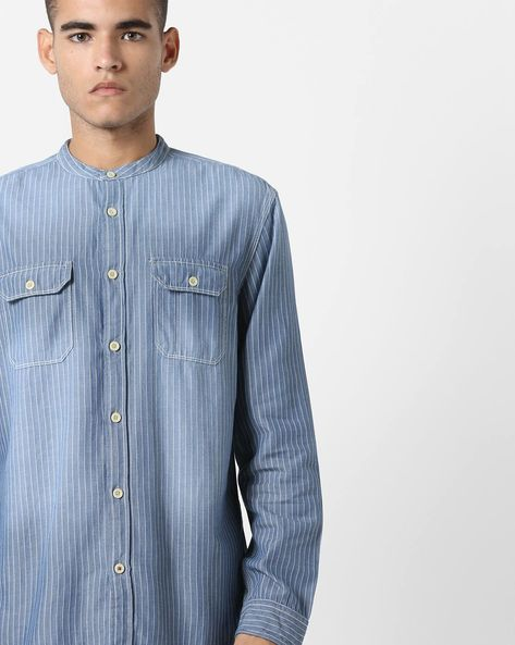 Slim Fit Striped Shirt With Dyed Effect By Jack & Jones ( Blue )