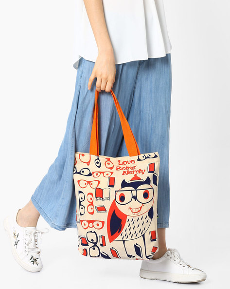 Quirky Printed Canvas Tote By Kanvas Katha ( Ecru )