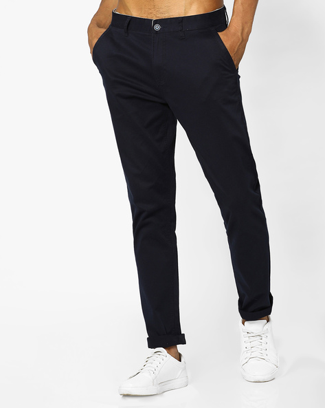 Flat-Front Slim Fit Chinos By AJIO ( Navy )