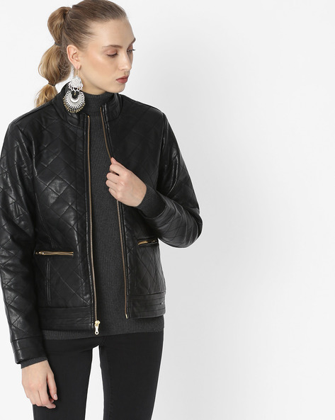 Quilted Leather Jacket By DUKE WOMEN'S ( Black )