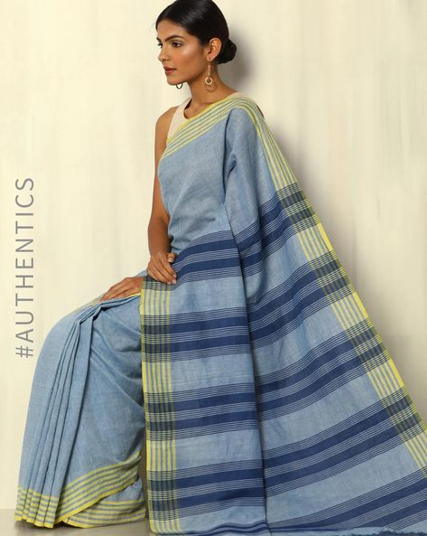 Handwoven Khadi Cotton Saree With Striped Blouse By DRAP ( Blue )