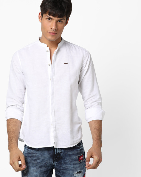 Shirt With Mandarin Collar By DNMX ( Offwhite )