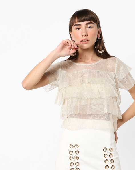 Tiered Sheer Top By Ginger By Lifestyle ( Offwhite )