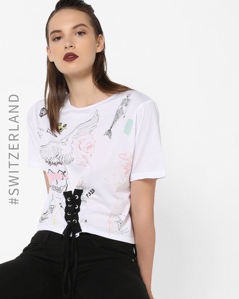 Graphic Print Top With Tie-up By TALLY WEiJL ( White )