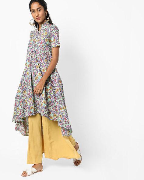 Floral Print Dress With Asymmetric Hem By Jiyaa ( Fuchsia )