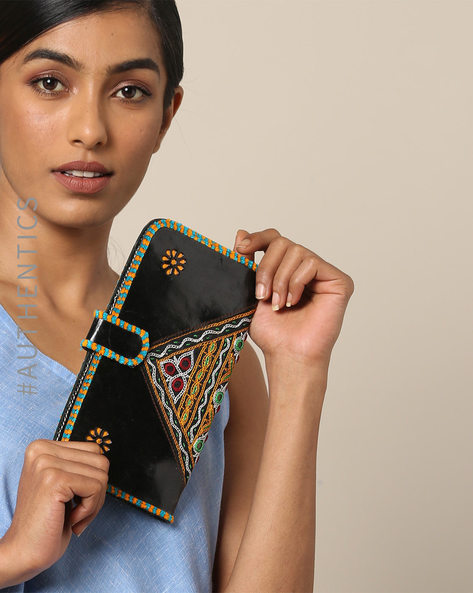 Hand Embroidered Pure Leather Clutch With Mirror Work By SWADESH ( Black )