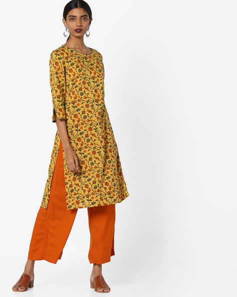 Floral Print Tunic With Slit Sleeve Hems By AJIO ( Mustard )