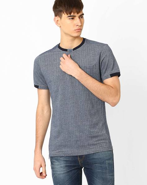 Slim Fit Henley T-shirt By VOI JEANS ( Navy )